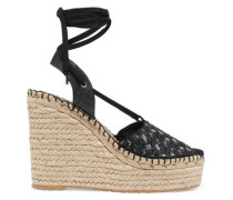 Tessa sequin-embellished canvas wedge sandals