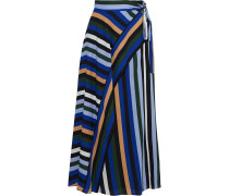 Tilda Striped Crepe De Chine Midi Wrap Skirt