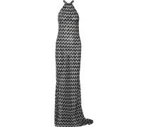 Metallic Crochet-knit Maxi Dress Schwarz