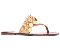 Embellished Leather And Jute Sandals