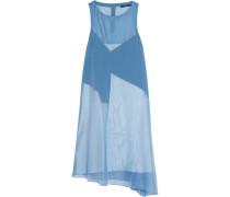 Isa Asymmetric Paneled Organza Dress Blau