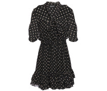 Tie-neck Ruffled Polka-dot Silk-chiffon Mini Dress