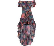 Asymmetrisches Kleid aus Einer Seidenmischung mit Fil Coupé und Print