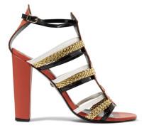 Stud-embellished Leather Sandals Tomatenrot