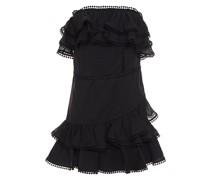 Gestuftes Minikleid aus Häkelspitze und Voile aus Einer Baumwollmischung