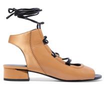 Drum Lace-up Leather Sandals Beige