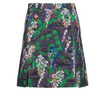 Button-embellished jacquard mini skirt