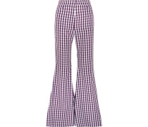 Gingham Poplin Flared Pants Lila