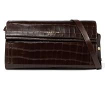 Croc-effect Leather Shoulder Bag Dunkelbraun
