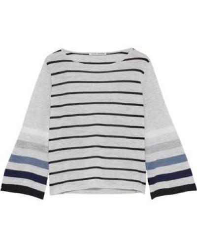 Striped Cashmere Top Light Gray