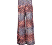 Lice Printed Silk-georgette Wide-leg Pants Mehrfarbig