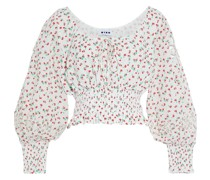 Helena Broderie Anglaise-trimmed Floral-print Cotton Top