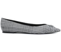 Prince Of Wales Knotted Woven Point-toe Flats Black