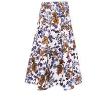 Flared Floral-print Duchesse-satin Midi Skirt
