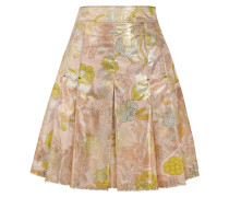 Pleated Metallic Jacquard Mini Skirt Pink