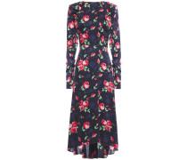 Open-back Ruched Silk-satin Jacquard Midi Dress