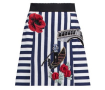 Appliquéd striped cotton-blend mini skirt