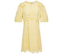 Naomie Minikleid aus Baumwolle mit Raffungen und Lochstickerei