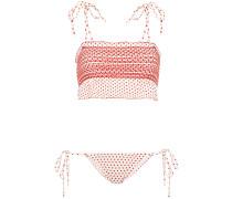 Smocked Polka-dot Crepe Bikini