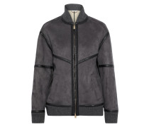 Nola Faux Leather And Suede Bomber Jacket