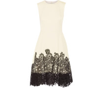 Lace-paneled Cotton-blend Dress Elfenbein