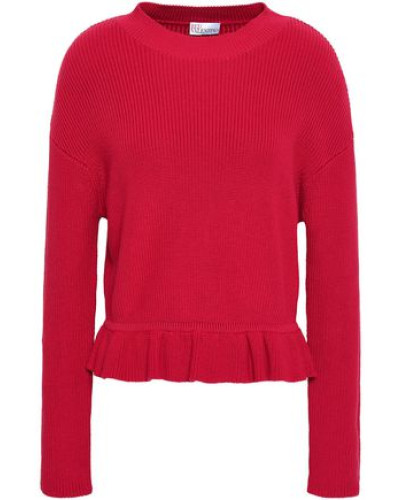 Woman Ruffle-trimmed Ribbed Cotton Sweater Claret
