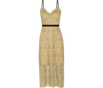 Ivette Metallic Guipure Lace Midi Dress Gold