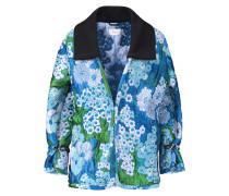 Floral-jacquard Coat Azurblau