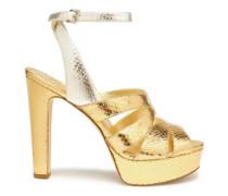 Metallic snake-effect leather platform sandals