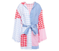 Patchwork-effect Gingham Linen Coverup