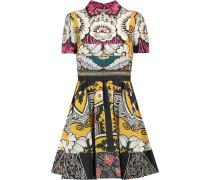 Bedrucktes Kleid aus Seide mit Falten