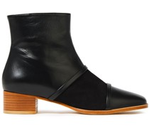 Dakota Suede-paneled Leather Ankle Boots