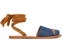 Woman Embroidered Denim And Suede Sandals Light Blue
