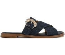 Frieda Buckle-embellished Denim Slides