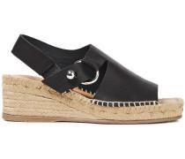 Woman Arc Leather Espadrille Wedge Sandals Black