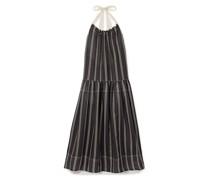 Granada Striped Ramie Halterneck Maxi Dress