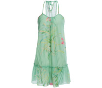 Gathered Printed Cotton And Silk-blend Mini Dress