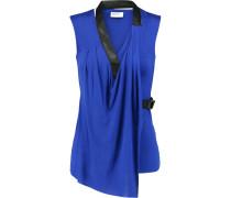 Wrap-effect Leather-trimmed Jersey Top Königsblau