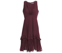 Ruffle-trimmed Pleated Voile Dress