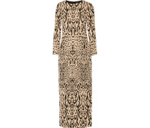 Long Honare Cloqué Gown Leoparden-Print
