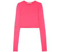 Woman Desmond Cropped Stretch-jersey Top Bright Pink