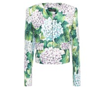 Cropped Floral-print Cotton-blend Jacquard Jacket