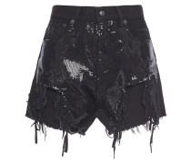 Distressed Sequin-embellished Denim Shorts