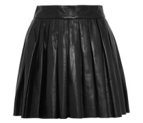 Dara pleated leather mini skirt