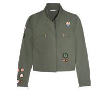 Appliquéd cotton-blend poplin jacket