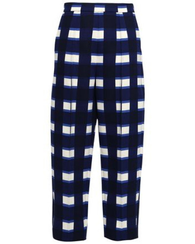 Woman Checked Woven Tapered Trousers Navy