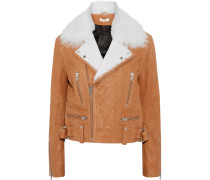 Textured-leather Biker Jacket Hellbraun