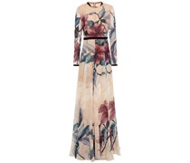 Lace-paneled Embroidered Printed Silk-blend Chiffon Gown