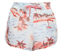 Printed Linen And Cotton-blend Shorts