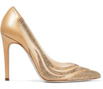 Paneled crystal-embellished satin, mesh and leather pumps